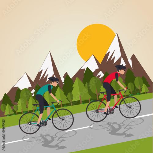 Fototapeta Flat illustration of bike lifesyle design