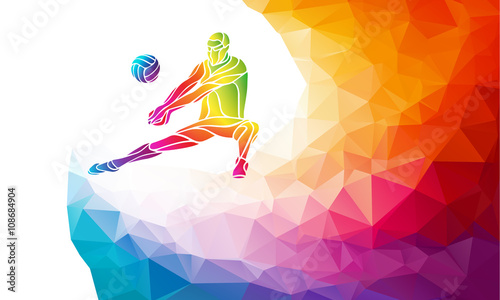 fototapeta na ścianę Creative silhouette of volleyball player. Team sport vector illustration or banner template in trendy abstract colorful polygon style with rainbow back