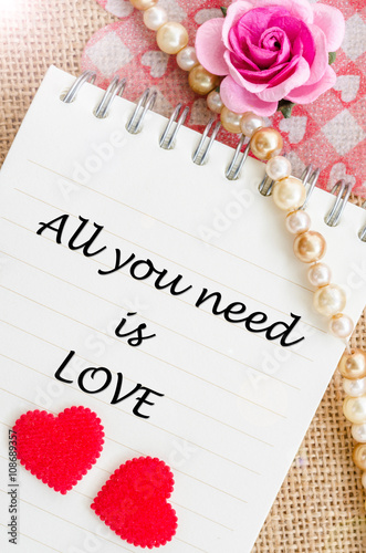 All you need is love on diary with red heart and rose. Poster