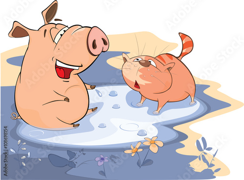 Plexiglas Babykamer Illustration of A Pig and a Cat in a Puddle