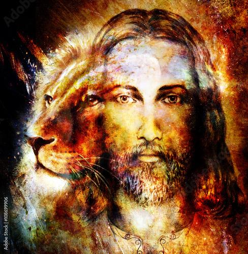 obraz-jezusa-z-lwem-na-pieknym-kolorowym-tle-z-nuta-uczucia-przestrzeni-portret-profilu-lwa