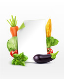 Vector menu pattern with vegetables (carrot, cabbage, basi