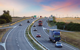 Fototapety Highway transportation with cars and Truck