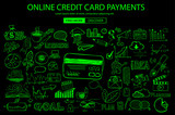 Online credit card payment concept with Doodle design style online purchases