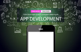 App Development Infpgraphic Concept Background with Doodle design style :user interfaces