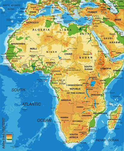 Africa-physical map - 108717507