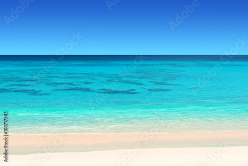seychelles tropical beach with white sand turquoise water and blue  sky