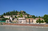 View over the hill of Castle San Pietro in the old town of Verona, Italy.
