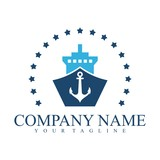 Ship Logo Blue Color Simple Design With Star