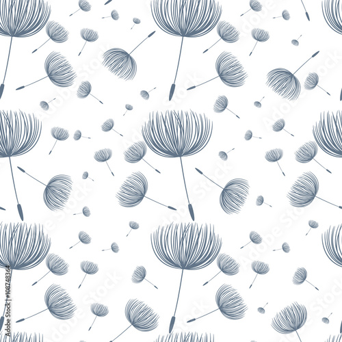 Abstract fluffy dandelion flower seamless pattern. Vector illust - 108748364
