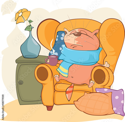Deurstickers Babykamer Illustration of Cute Cat. What to do When Your Cat is Sick