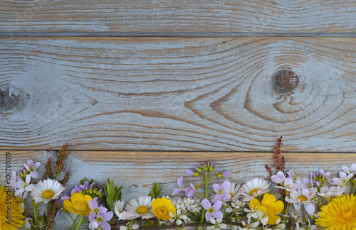 Bunch of fieldflowers,daisies, buttercups, Pentecostal flowers, dandelions  in a Poster