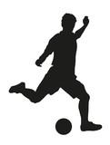 Fußballspieler mit Fußball Silhouette Fußballer Vektor freigestellt