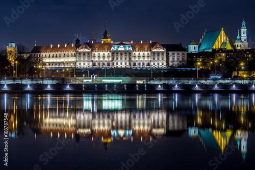 obraz lub plakat Zamek Królewski w Warszawie nocą