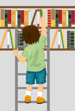 young boy taking book from shelf with ladder in library
