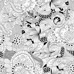 Tracery seamless calming pattern. Mehendi design. Neat even binary harmonious doodle texture. Algae sea motif. Indifferent discreet. Ambitious bracing usable, curved doodling mehndi. Vector.