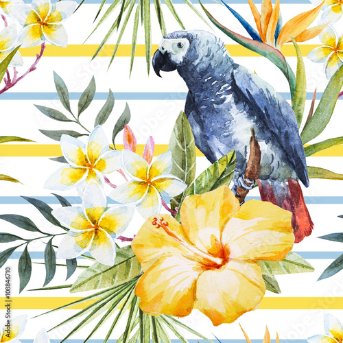 Tropical watercolor pattern - 108846710