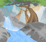 River,waterfall scene vector nature landscape background