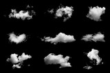 Set of isolated clouds on black background. - 108873734