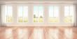 Stanza con finestre luminose parquet