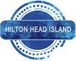 hilton head island grunge blue stamp. Isolated on white.