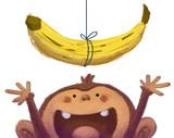 mono jugando con platano