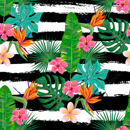 Materiał do szycia Seamless summer tropical pattern with exotic flowers and palm leaves vector background. Perfect for wallpapers, pattern fills, web page backgrounds, surface textures, textile
