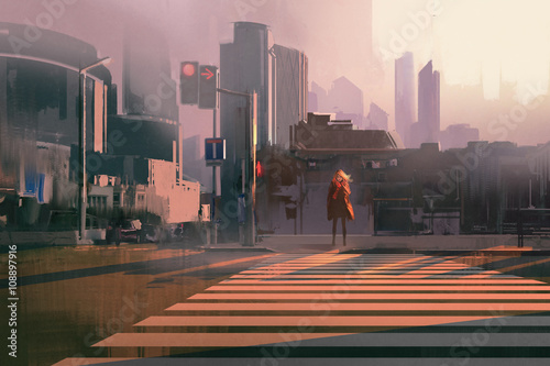 Fototapeta lonely woman standing on urban pedestrian crossing,illustration painting