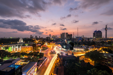 Colombo city sunset view, Top view of Colombo city at sunset in Sri Lanka