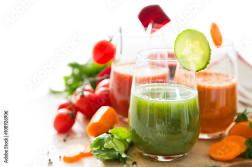 mata magnetyczna Selection of colorful vegetable juice in glasses