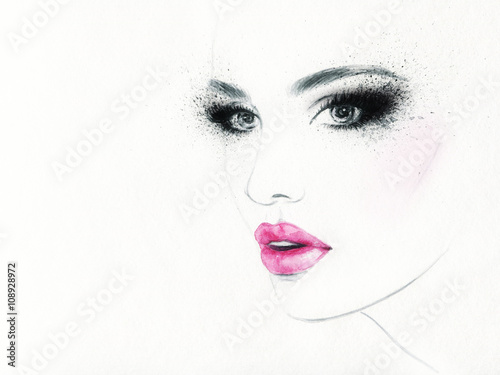 beautiful woman face. colorful makeup . abstract watercolor. fashion illustration - 108928972