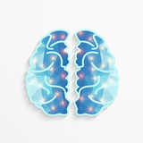 Human Brain polygonal shape with lights spot activity