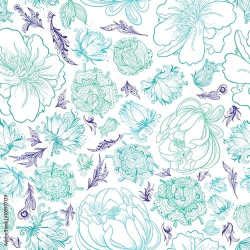 Fototapeta Turquoise Vector Sketch Floral Pattern