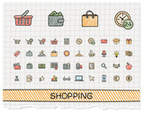Shopping hand drawing line icons. Vector doodle pictogram set. color pen sketch sign illustration on paper with hatch symbols, credit, purchase, service, card, calculator, internet, bank, terminal