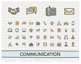 Communication hand drawing line icons. Vector doodle pictogram set. color pen sketch sign illustration on paper with hatch symbols, business, social, internet, mail, chat, meeting, speech, hand.