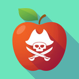 Long shadow red apple with a pirate skull