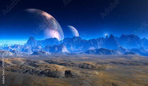 double moon above Crater Landscape on alien Planet.