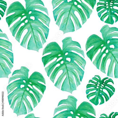 Cotton fabric Watercolor drawing, palm trees or green leaves (seamless pattern)
