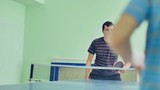 man  playing table tennis sport slow motion video backhand