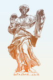 sketch ink drawing marble statue of angel from the Sant Angel
