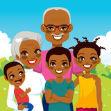 Cute African American Grandparents With Grandchildren family together on park smiling happy