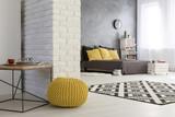 Modern falt with decorative brick wall