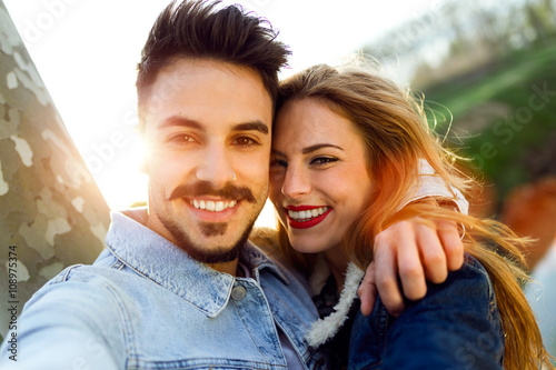 Beautiful young couple in love in the park.