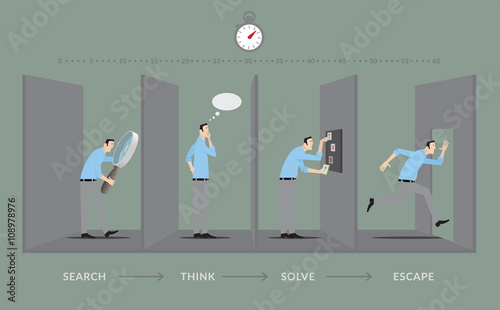Escape room game concept player in four steps of the game for Escape room concept