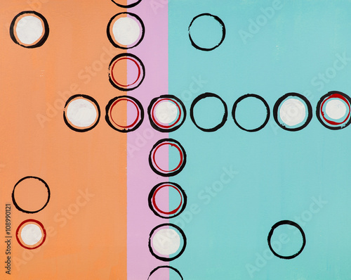 An abstract grid painting; stamped circles. - 108990121