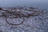 Rusty Steel Wire on Riverside near Water