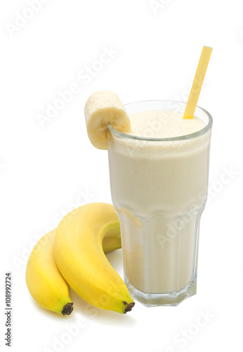 Canvas Milkshake banana milk smoothies with banana fruit on a white background