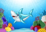 Stylized cartoon angry shark with beautiful underwater world