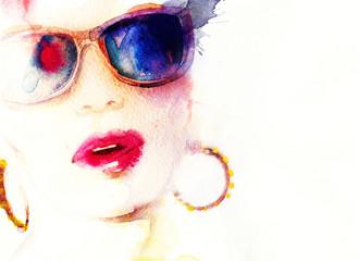 Woman with glasses.watercolor fashion illustration © Anna Ismagilova