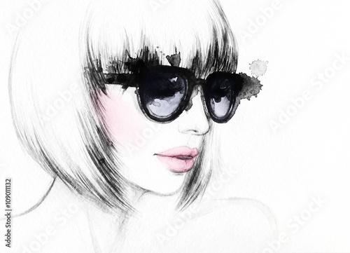kobieta-z-glasses-watercolor-mody-ilustracja